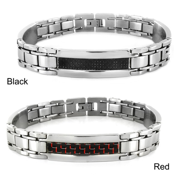 West Coast Jewelry Stainless Steel Carbon Fiber Inlay Link Bracelet