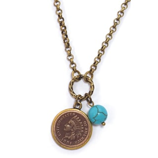 American Coin Treasures Indian Head Cent Turquoise Bead Antiqued Necklace