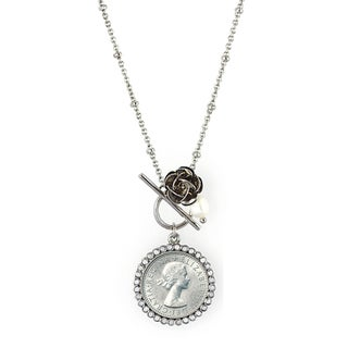 American Coin Treasures Lucky British Sixpence Rose Toggle Necklace