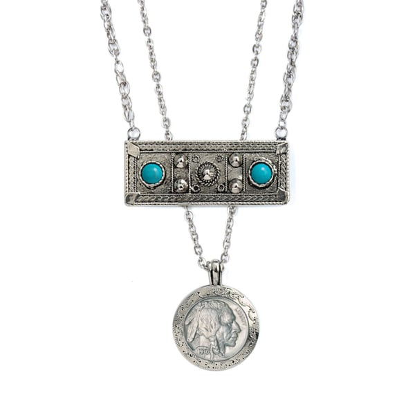 American Coin Treasures Double Strand Genuine Turquoise Buffalo Nickel Necklace
