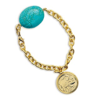 American Coin Treasures Gold-Layered Buffalo Nickel Bracelet with Turquoise Stone