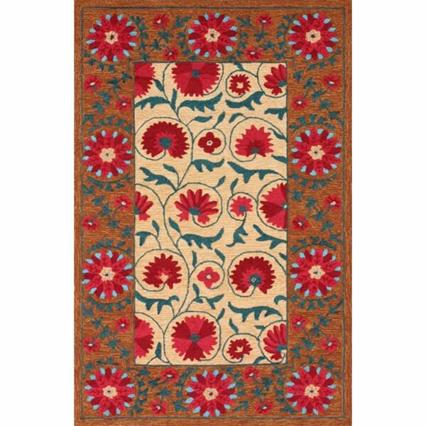 nuLOOM Handmade Floral Border Multi Rug