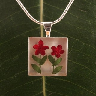 Two Burgundy Flowers Square Pendant