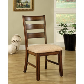 Furniture of America Contemporary Anitque Oak Dining Chairs (Set of 2)