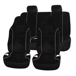 Black Velour with Heart Embroidery Univerisal Car Seat Covers (Full Set)