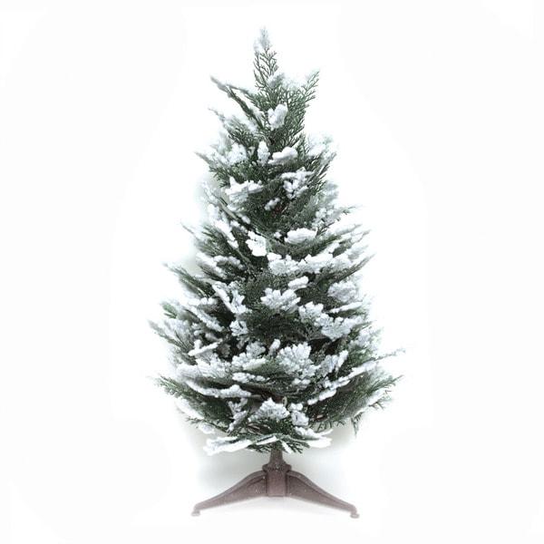 Good Tidings Snow Cedar 23-inch Tabletop Seasonal Tree