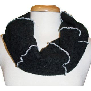 Black Sweater Knit Infinity Scarf with Contrast Stitching
