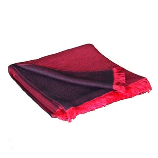 Women's Black/Crimson Cashmere-Blend Shawl with Red Fringe