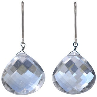 Ashanti Sterling Silver Natural Rock Crystal Earrings (Sri Lanka)