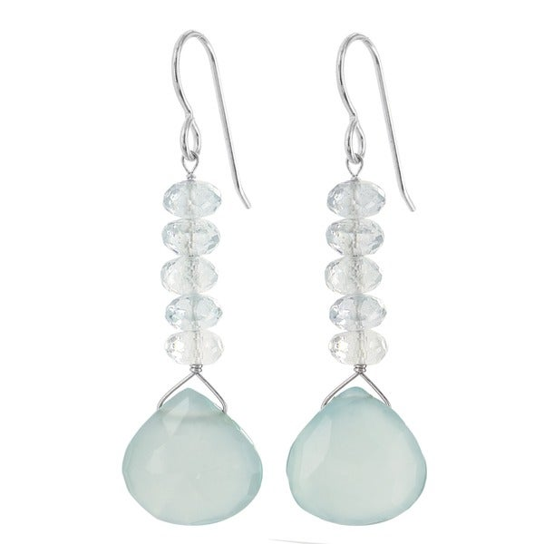 Ashanti Sterling Silver Aquamarine and Chalcedony Gemstone Handmade Earrings (Sri Lanka)