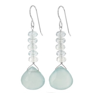 Ashanti Sterling Silver Aquamarine and Chalcedony Earrings (Sri Lanka)