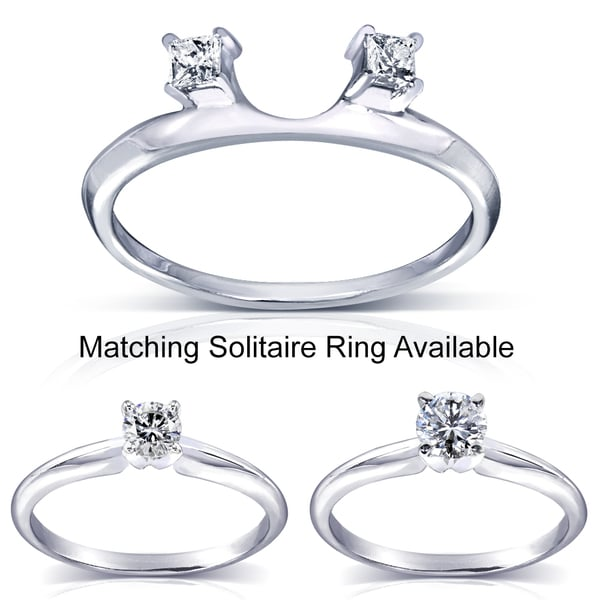Annello 14k White Gold Princess Cut Diamond Wrap or Round Cut Solitaire Ring (H-I, I1-I2)