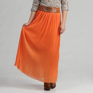 Meetu Magic Women's Magnificent Orange Skirt with Pleats