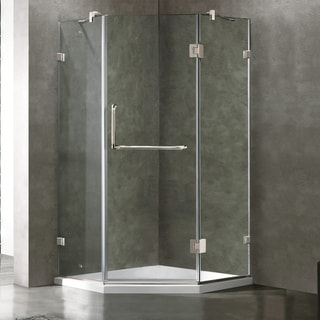 VIGO Frameless Neo-Angle Clear Glass Shower Enclosure with Low-Profile Base in Brushed Nickel