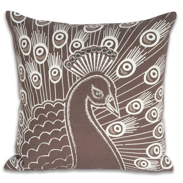 Matty Peacock Embroidered 16-inch Pillow
