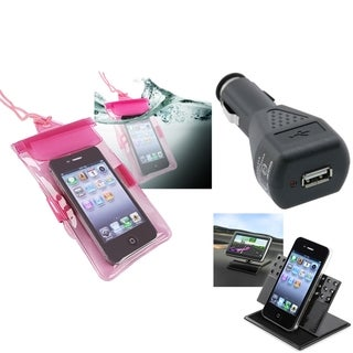 BasAcc Pink Waterproof Bag/ Car Charger/ Holder for Apple iPhone 5