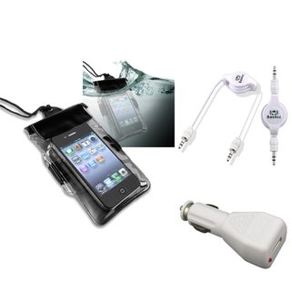 BasAcc Black Waterproof Bag/ Cable/ Car Charger for Apple iPhone 5