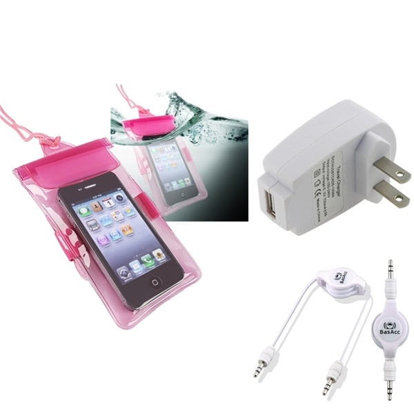 INSTEN Pink Waterproof Bag/ Cable/ Travel Charger for Apple iPhone 5