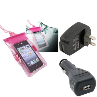 INSTEN Pink Waterproof Bag/ Travel/ Car Charger for Apple iPhone 5/ 5S