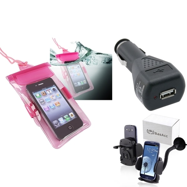 INSTEN Pink Waterproof Bag/ Holder/ Car Charger for Apple iPhone 5