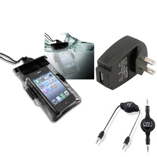 BasAcc Black Waterproof Bag/ Travel Charger/ Cable for Apple iPhone 5