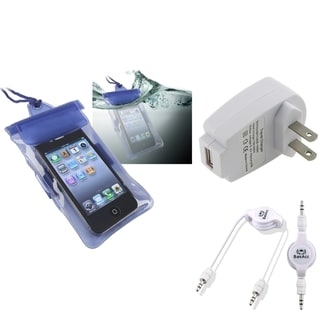 BasAcc Blue Waterproof Bag/ Cable/ Travel Charger for Apple iPhone 5