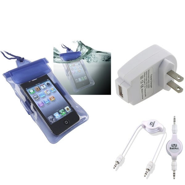 INSTEN Blue Waterproof Bag/ Cable/ Travel Charger for Apple iPhone 5