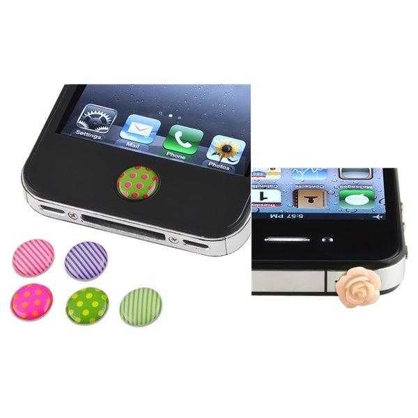 INSTEN Dot/ Strip Home Sticker/ Dust Cap for Apple iPhone 4/ 4S/ 5