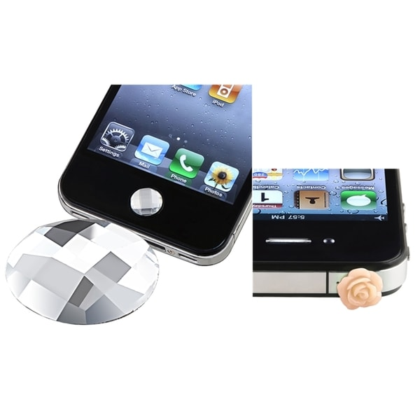 INSTEN Diamond Home Button Sticker/ Dust Cap for Apple iPhone 5/ 4/ 4S