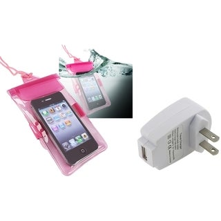 BasAcc Transparent Pink Waterproof Bag/Travel Charger for Apple iPhone 4S/5