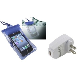 INSTEN Waterproof Bag/ White Travel Charger for Apple iPhone 4S/ 5