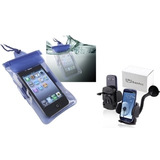 BasAcc Blue Waterproof Bag/ Car Phone Holder for Apple iPhone 4S/ 5