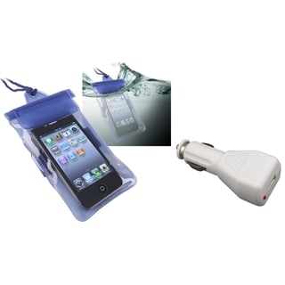 BasAcc Blue Waterproof Bag/ Car Charger for Apple iPhone 4S/ 5