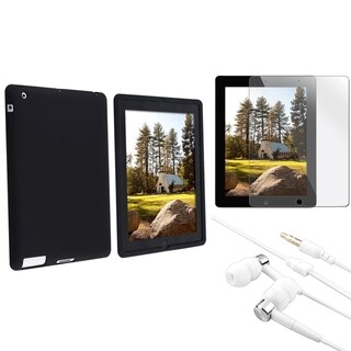 BasAcc Black Silicone Case/ LCD Protector/ Headset for Apple iPad 3