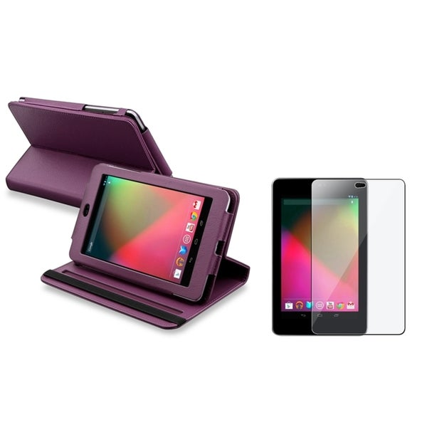 INSTEN Purple Swivel Phone Case Cover/ LCD Protector for Google Nexus 7