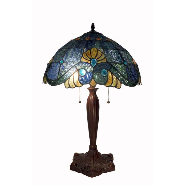 Tiffany Style Blue Geometric Symmetry Table Lamp