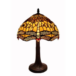 Tiffany Style Amber Dragonfly Table Lamp