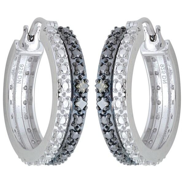 Sterling Silver 1/8ct TDW Black Diamond Hoop Earrings