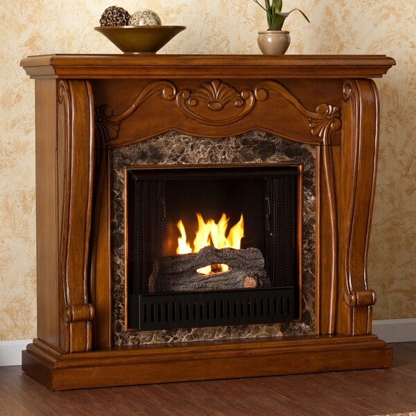 Upton Home Sandro Walnut Gel Fuel Fireplace