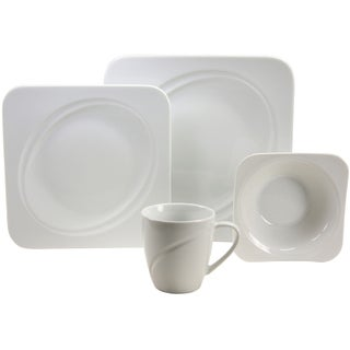 French Home 16-piece Geo Weiss Decor Fine Porcelain Dinner Ware Set