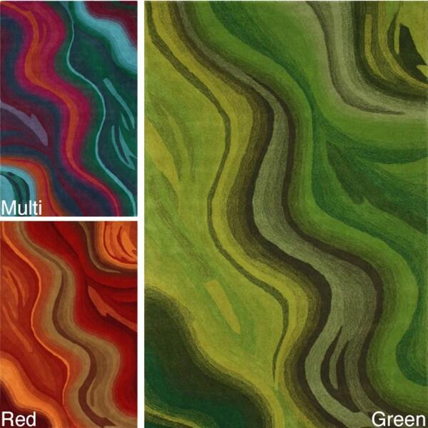 nuLOOM Handmade Abstract Waves Green Wool Rug