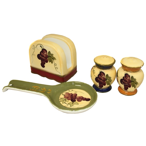 Napa Vineyard Hand Painted 4-piece Tabletop Gift Set