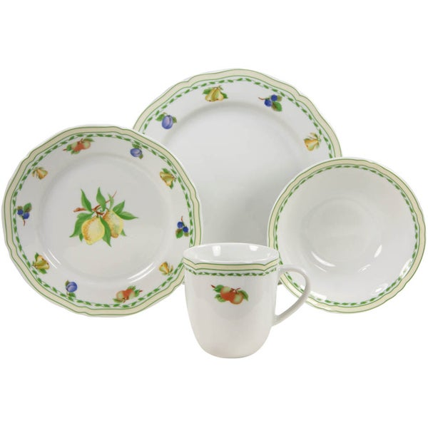French Home 16-piece Fine Porcelain Cornwall Decor Dinnerware Set