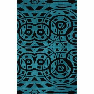 nuLOOM Handmade Modern Abstract Turquoise Wool Rug