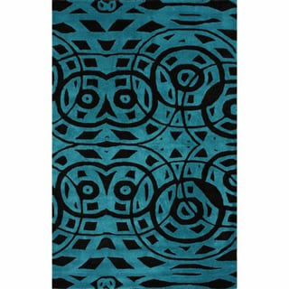nuLOOM Handmade Modern Abstract Turquoise Wool Rug
