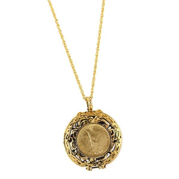 American Coin Treasures Mustard Seed Locket Angel Coin Pendant