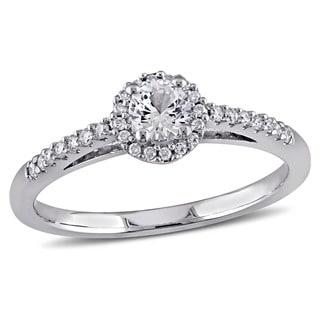 Miadora 14k White Gold White Sapphire and 1/6ct TDW Diamond Ring