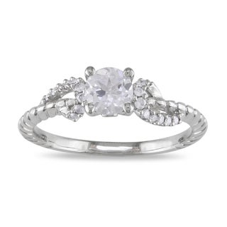 Miadora 14k White Gold White Sapphire and 1/10ct TDW Diamond Ring