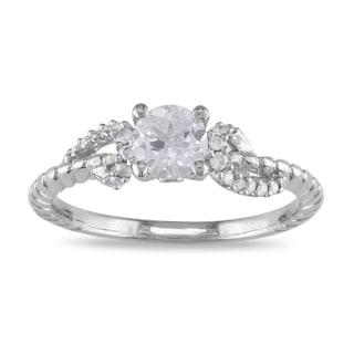 Miadora 14k White Gold White Sapphire and 1/10ct TDW Diamond Ring