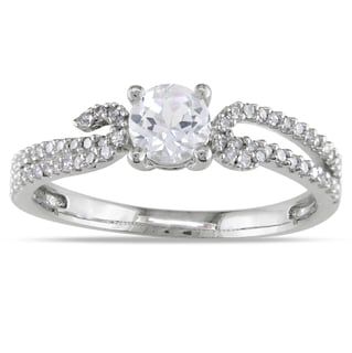 Miadora 14k White Gold Round-cut White Sapphire and 1/4ct TDW Diamond Ring